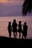 Силуэт на пляже Стоковая Фотография RF