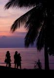 Силуэт на пляже Стоковое Изображение