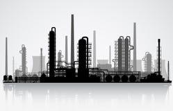 Силуэт нефтеперерабатывающего предприятия также вектор иллюстрации притяжки corel Стоковое фото RF