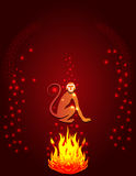 Силуэт обезьяны огня Стоковое Изображение