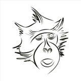Силуэт обезьяны Стоковые Фото