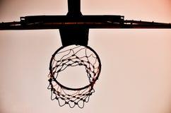 Силуэт обруча баскетбола Стоковая Фотография