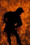 Силуэт огня женщины коренного американца постного излишек Стоковые Фото