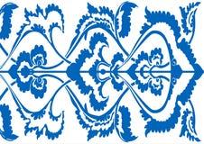 Силуэт орнаментальной границы флористический, горизонтальный цветочный узор Стоковое Изображение