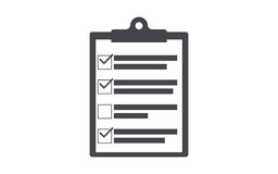 Силуэт доски сзажимом для бумаги контрольного списока значка доски сзажимом для бумаги Простой значок круга иллюстрация вектора