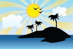 Силуэт солнечного острова Стоковое Фото