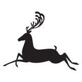 Силуэт лося иллюстрации вектора оленей черный Стоковые Фото