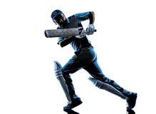 Силуэт отбивающего мяч игрока сверчка Стоковое Фото