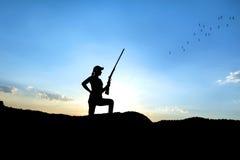 Силуэт охотника Стоковые Изображения RF