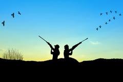 Силуэт охотника Стоковая Фотография RF