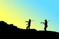Силуэт охотника Стоковое Изображение
