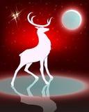 Силуэт оленя с яркой луной Стоковое Изображение RF