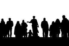 Силуэт памятника герцога de Richelieu среди людей на лестницах Potemkin в Одессе, Украине Стоковое Фото