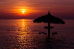 Силуэт парасоля на заходе солнца красивого моря тропическом Стоковые Фотографии RF