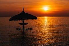 Силуэт парасоля на заходе солнца красивого моря тропическом Стоковое Изображение RF