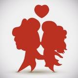 силуэт пар В-влюбленности целуя, иллюстрация вектора Стоковые Изображения