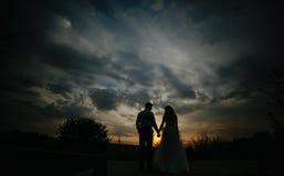 Силуэт пар свадьбы в поле Стоковое Фото