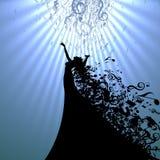 Силуэт певицы оперы и музыкальных символов Стоковые Фото