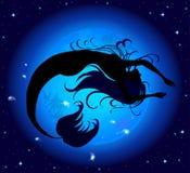Силуэт перепрыгнутый из русалки воды Стоковые Изображения