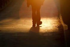 Силуэт пешехода на мосте в Фрайбурге Стоковые Фотографии RF