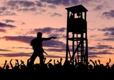 Силуэт пограничников и беженцев Стоковые Изображения RF