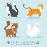 Силуэт породы кота Стоковое Изображение
