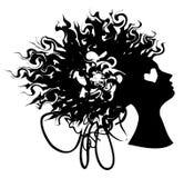 Силуэт портрета женщины с вьющиеся волосы иллюстрация штока