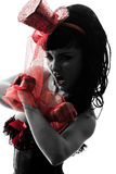 Силуэт портрета танцовщицы стриппера женщины Стоковая Фотография RF