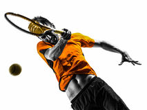 Силуэт портрета теннисиста человека Стоковое Фото