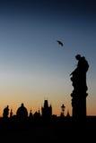 Силуэт Праги - формата портрета стоковая фотография rf