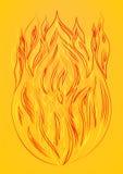 Силуэт предпосылки желтого цвета огня Стоковая Фотография RF