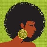 Силуэт профиля, Афро-американская женщина Стоковое Изображение