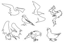 Силуэт птиц линейного эскиза handdrawn Стоковые Фотографии RF