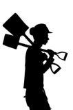 Силуэт работника построителя конструкции Стоковое фото RF
