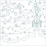 Силуэт ракеты на предпосылке луны Стоковые Изображения