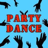 Силуэт рук на партии Заготовка для дизайна Рогульки, визитные карточки, рогульки Стоковые Изображения RF