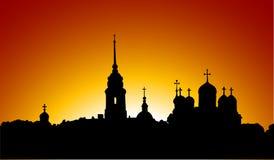 Силуэт Русской православной церкви Стоковое Изображение RF