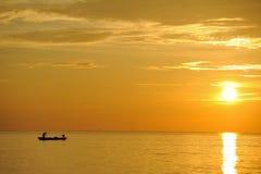 Силуэт рыболова Стоковые Изображения