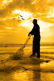 Силуэт рыболовов Стоковое Изображение RF