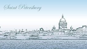Силуэт Санкт-Петербурга Стоковое Изображение RF