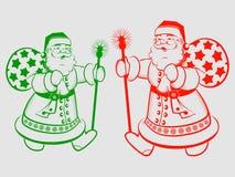 Силуэт Санта Клаус рождества Стоковые Изображения