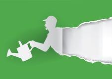 Силуэт садовника бумажный Стоковое Изображение