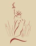 Силуэт свободы статуи Стоковая Фотография RF