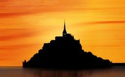 Силуэт Святого Мишеля Mont, Франции Стоковые Фотографии RF