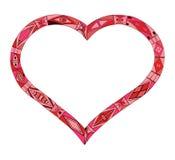 Силуэт сердца дня валентинки Стоковое фото RF