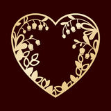 Силуэт сердца с лилиями долины Вырезывание лазера или foiling шаблон Стоковые Изображения