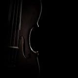 Силуэт скрипки шнурует крупный план Стоковая Фотография