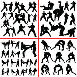 Силуэт смешивания боевых искусств Иллюстрация штока