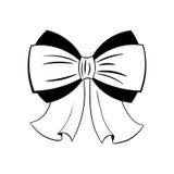 Силуэт смычка черно-белый Иллюстрация вектора на белизне Стоковая Фотография