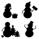 Силуэт снеговика Стоковое Фото